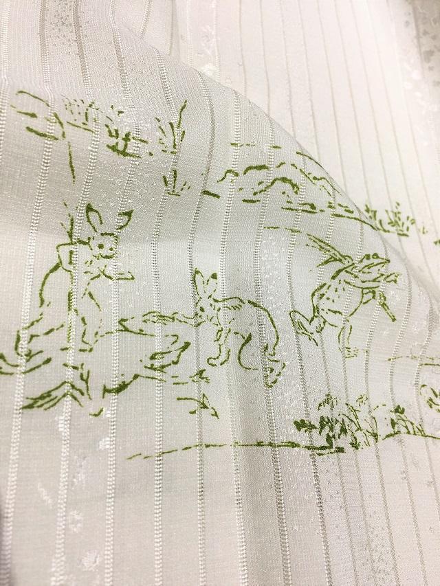 夏帯揚げ 鳥獣戯画